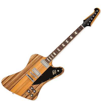 Today's Gibson Firebird V—now with handsome zebrawood wings—faithfully