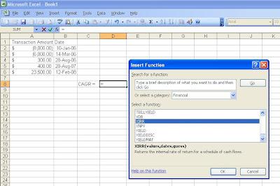 Excel insert XIRR function