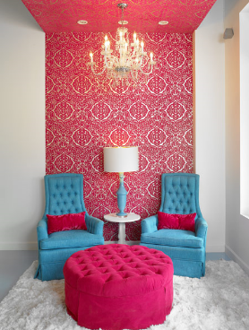 wallpaper on just one wall and those dramatic curtains sure spice the