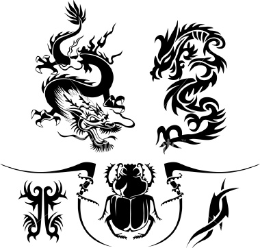 tribal dragon tattoos arm