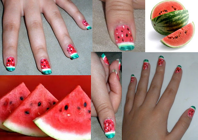 Tutorial to Decorate Nails using a Watermelon Design.
