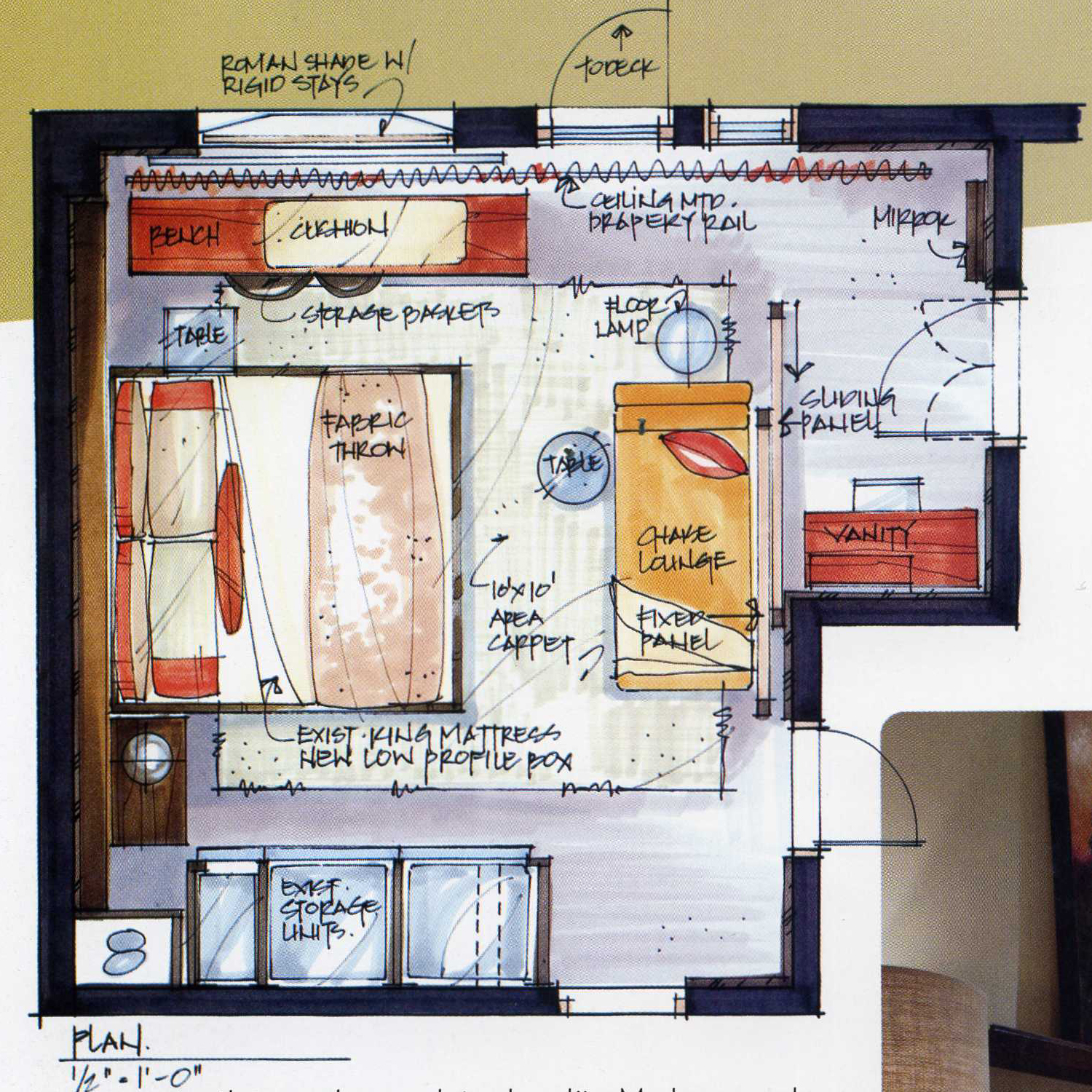 Dream Kitchen Design Drawing: Love This Colored Floor Plan!/ Hand Rendering And Fine Art