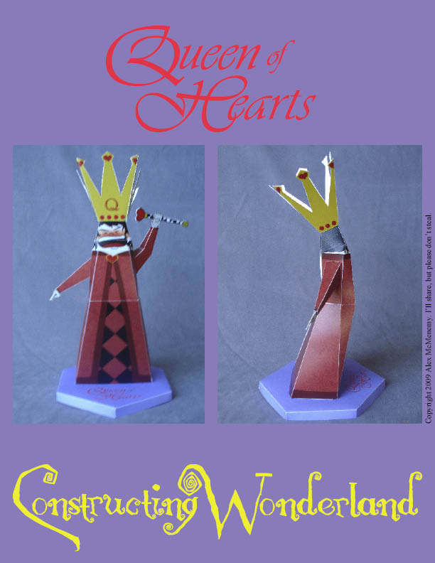 Papercraft del personaje de Disney, la Reina de Corazones. Manualidades a Raudales.