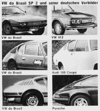 Comparativo de design - Volkswagen SP2