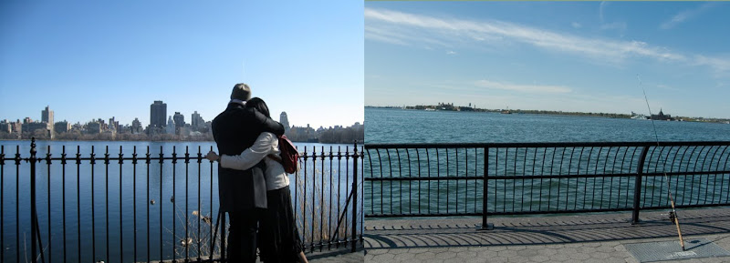 couple watching the skyline/skyline with fishing pole