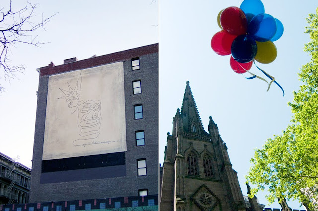 building with drawings, church and balloons
