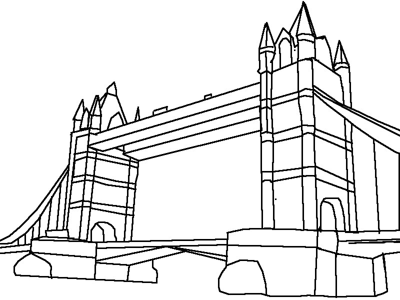 london bridge drawing simple sketch coloring page