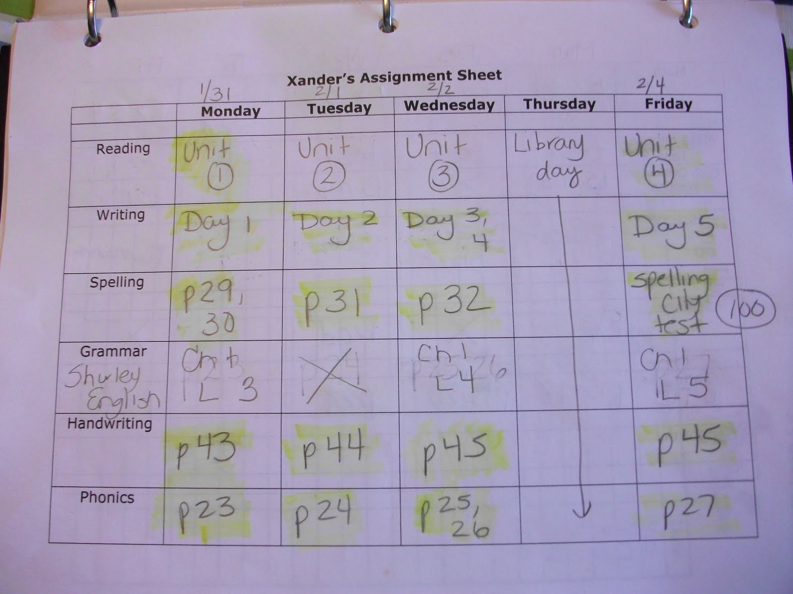 i am also recording any grades that i want to make note of on their school planners you can see in the picture that xman made a 100 on his spelling test on