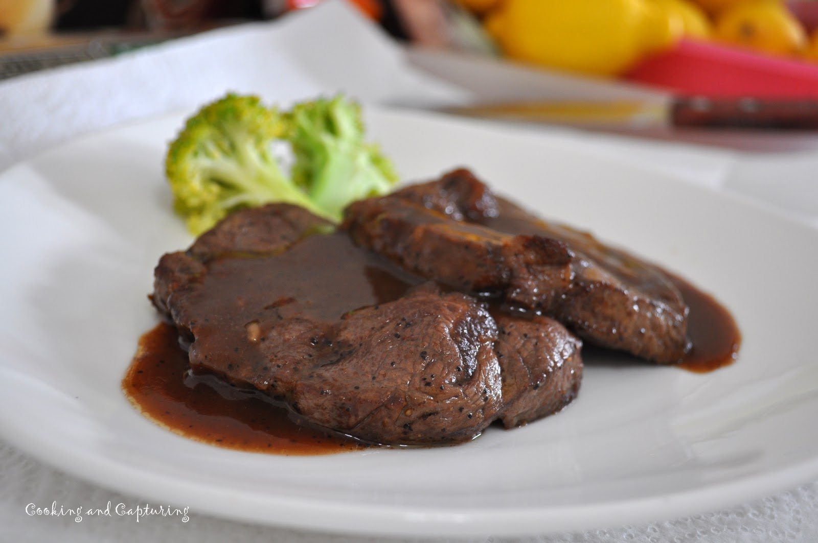 steak with salt and pepper. Heat oil and butter in a pan, fry steak ...