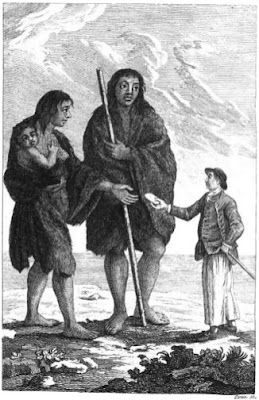 giant Patagon woman and child