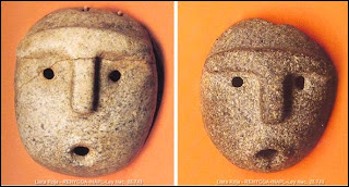 heavy browed humans in Ancient Argentine native masks