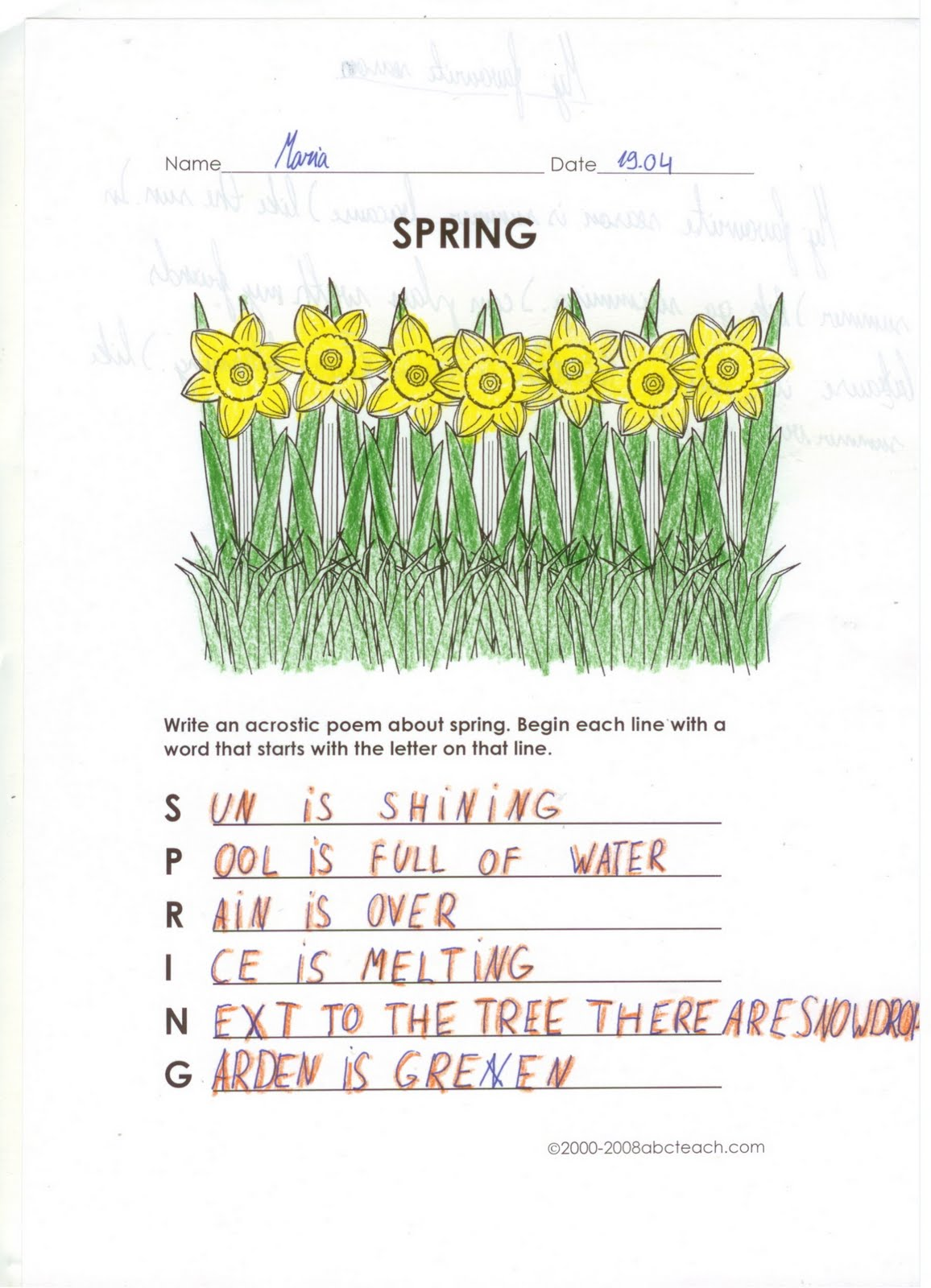 Spring Acrostic Poem Template Related Keywords & Suggestions - Spring ...