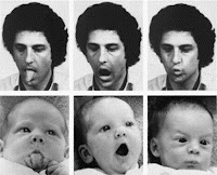 baby imitating facial movements