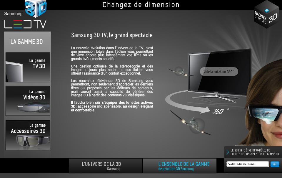tv 3d et 3d ready la 3d tv samsung est en ligne. Black Bedroom Furniture Sets. Home Design Ideas