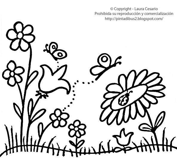Dibujos para imprimir y colorear flores de jard n para for Jardin dibujo