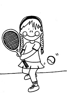 paint a drawing Dibujo para colorear de una nia jugando tenis