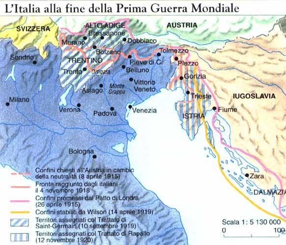 Risultato immagine per confine italiano 1918