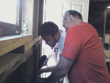 dad and glenn, working hard