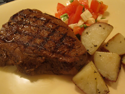 Grilled Sirloin, Roasted Potatoes and Tomato Mozzarella Salad