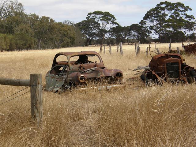 rusted truck in a field, kangaroo island