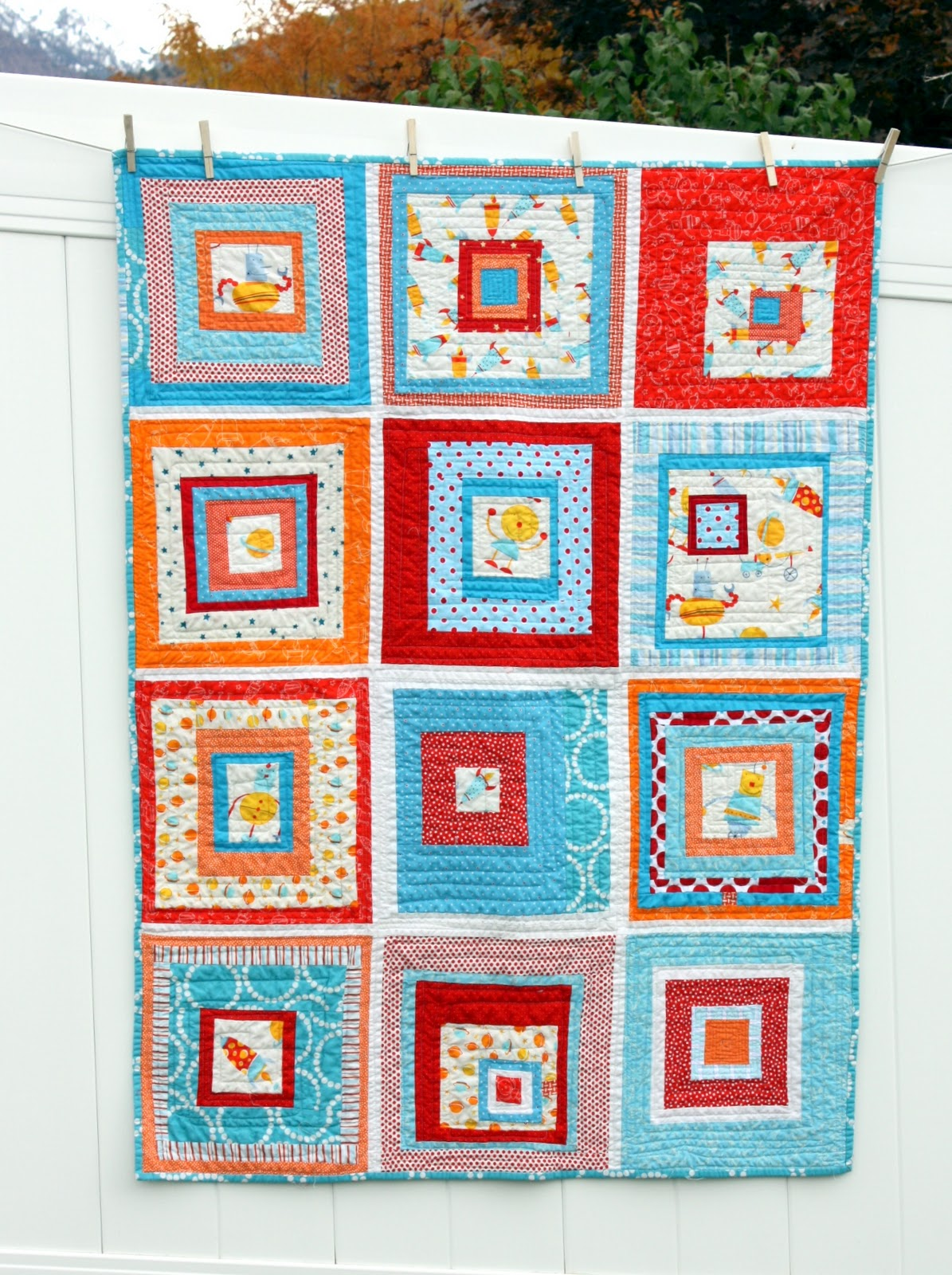 Robot quilt 2 0 for new nephew 2 diary of a quilter a for Robot quilt fabric