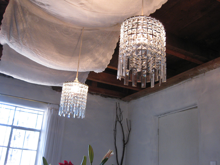 This Year S Temporary Chandelier Rimfrost Pendants That I Bought At Ikea A Few Years Ago And Had In Storage More Glam Than Last Especially With