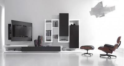 NewBlack and White Living Room, Living Room Design, Black and White interior, Functional Tv Stand,