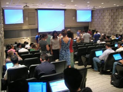 A break during orientation, in Davies Auditorium.