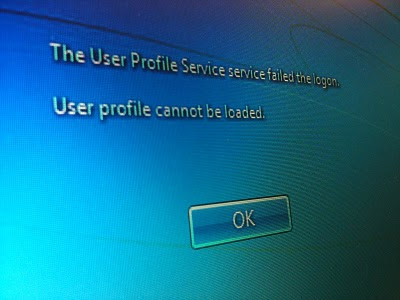 The User Profile Service service failed the logon.
