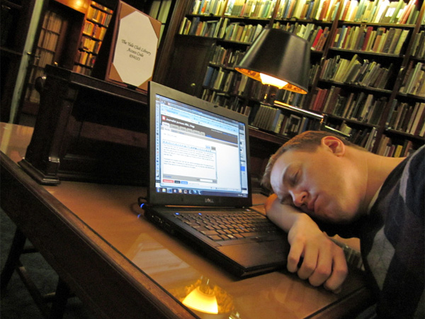 Working hard at the Yale Club library.