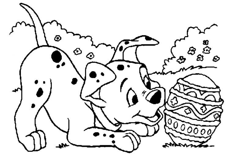 Dibujos para colorear: 101 Dálmatas - Perrito con huevo