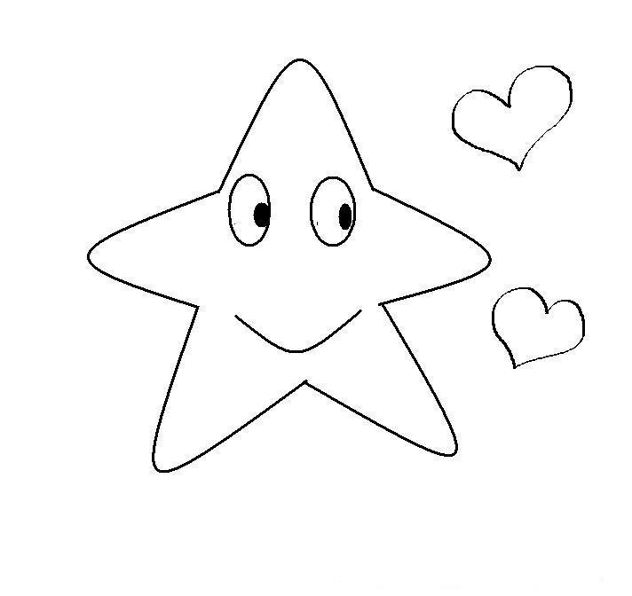 Dibujos para colorear: Dibujos para colorear - Estrella con corazones
