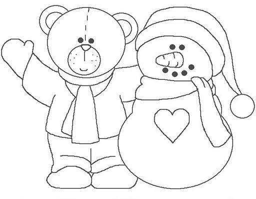 Dibujos para colorear: Dibujos para colorear - Osito con muñeco de nieve