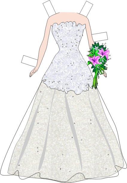 Muñecas para recortar: Muñeca Barbie para recortar con vestidos