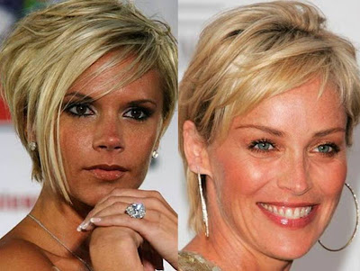 best celebrity hairstyles Sharon Stone Victoria Beckham short hairstyles