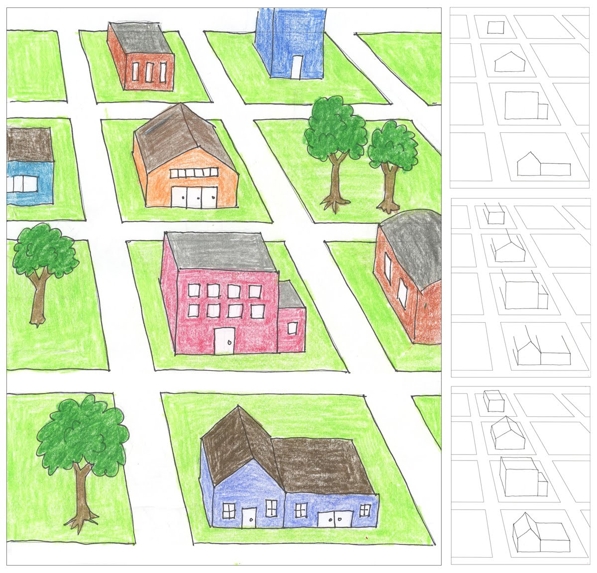 City block one point perspective drawing art projects for kids House map drawing