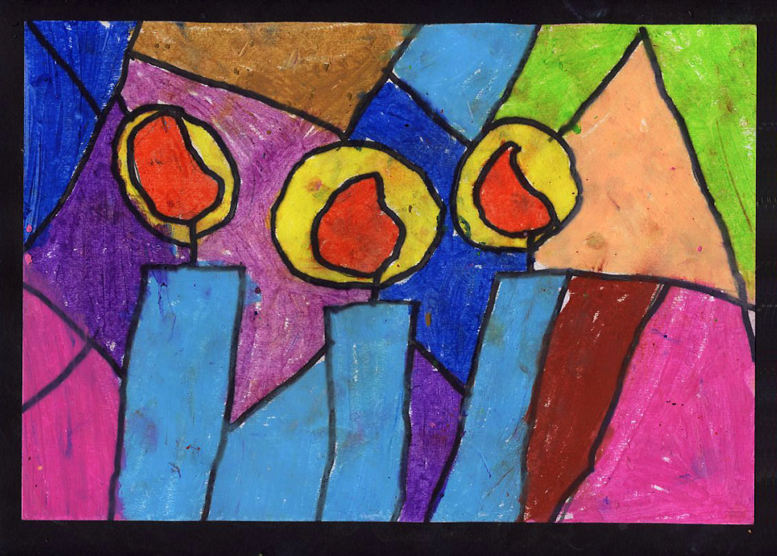 stained glass holiday candle art projects for kids