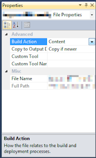Screenshot of properties dialogue, 'Build Action' highlighted