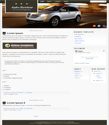free blogger template Auto Review for auto blog