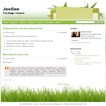 free blogger template JooGoo Green