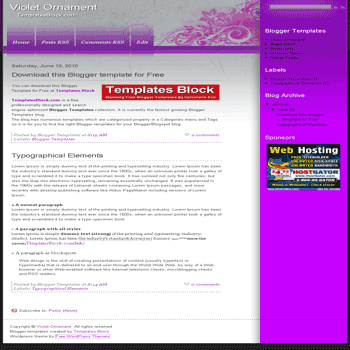 free blogger template convert wordpress theme to blogger Violet Ornament blogger template