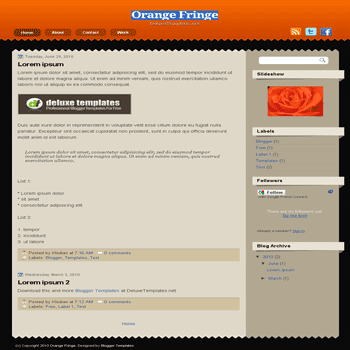 free blogger template Orange Fringe blogspot template