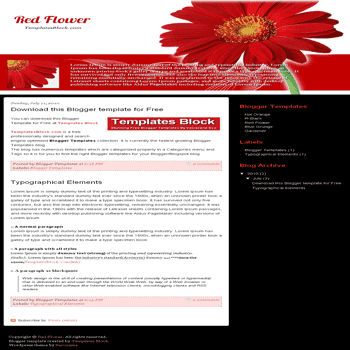 free blogger template convert wordpress theme to blogger Red Flower blogger template