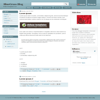 free blogger template Bluegrass for blogspot template