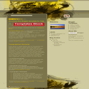 free blogger template convert website template to blogger Yellow Doodle blogger template