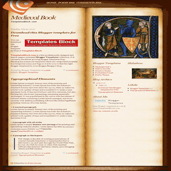 free blogger template convert website template to blogger Medieval Book blogger template