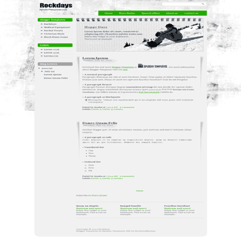 free blogger template converted from PSD to Blogger Template Rockdays blogger template