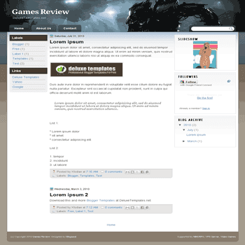 free blogger template Games Review for games template blog