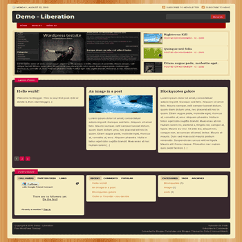 liberation free blogger template convert from wordpress theme to blogger with feature content for photo and gallery blogger template