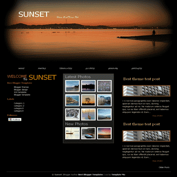 Sunset free blogger template converted from css template to blogger template for gallery and photo blog template